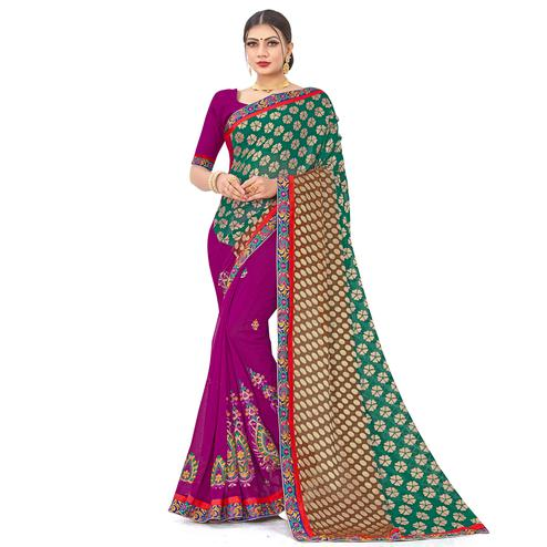 Majesty Green-Purple Colored Party Wear Embroidered Georgette Half-Half Saree