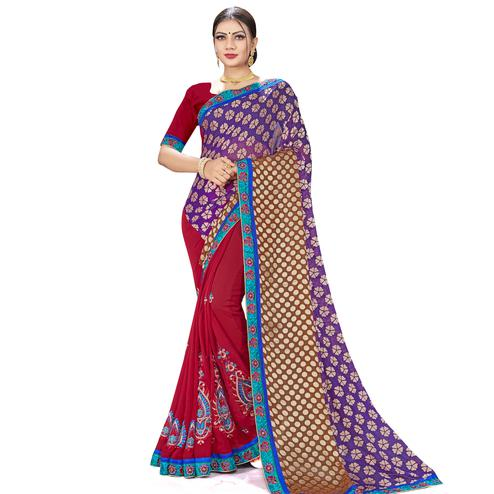 Mesmerising Maroon-Purple Colored Party Wear Embroidered Georgette Half-Half Saree