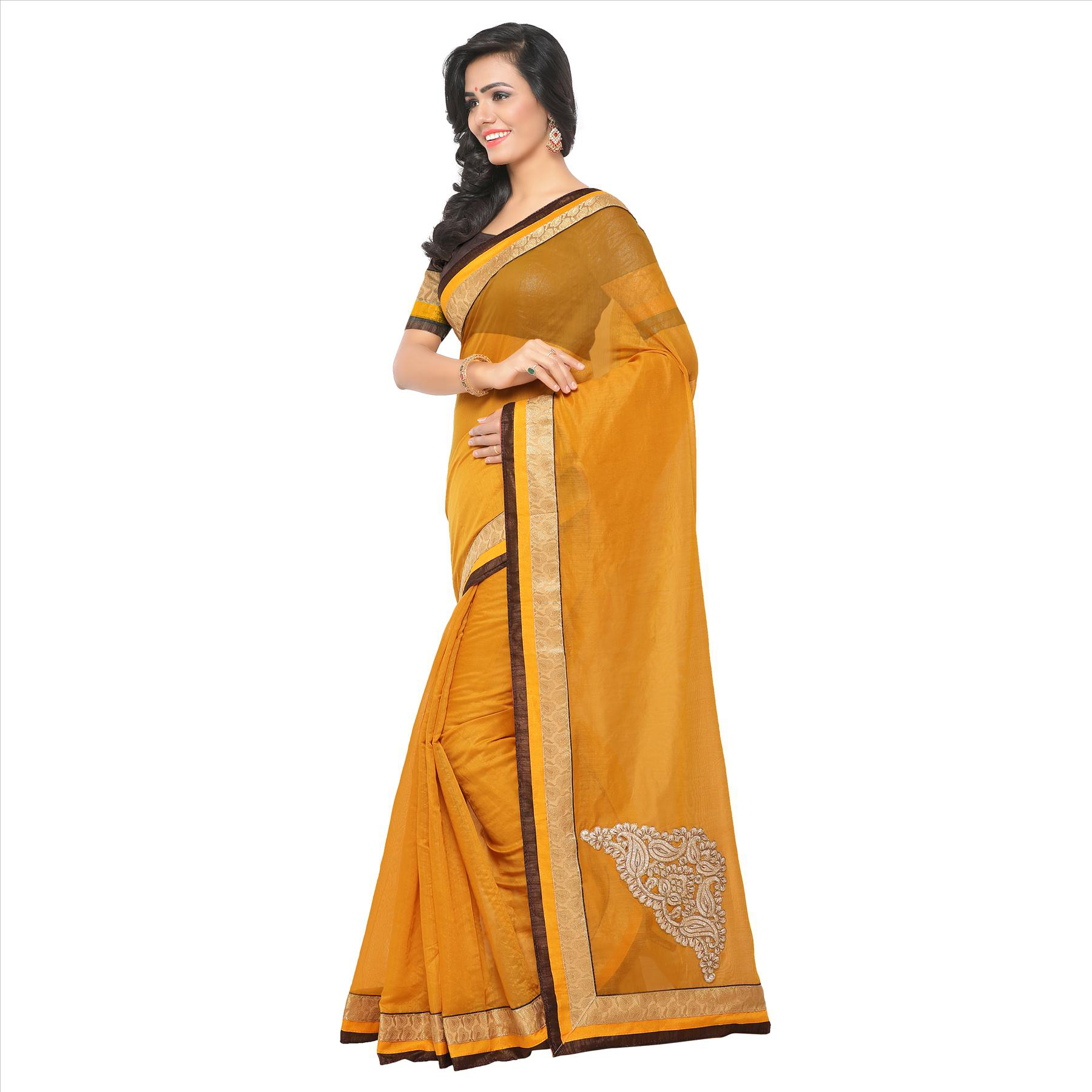 Trendy Yellow Partywear Chanderi Silk Saree