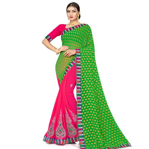Pleasance Pink-Green Colored Party Wear Embroidered Georgette Half-Half Saree