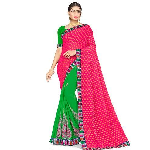 Breathtaking Green-Pink Colored Party Wear Embroidered Georgette Half-Half Saree