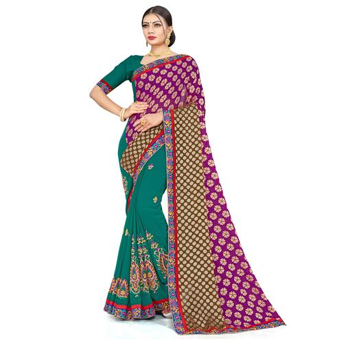 Ethnic Green-Purple Colored Party Wear Embroidered Georgette Half-Half Saree