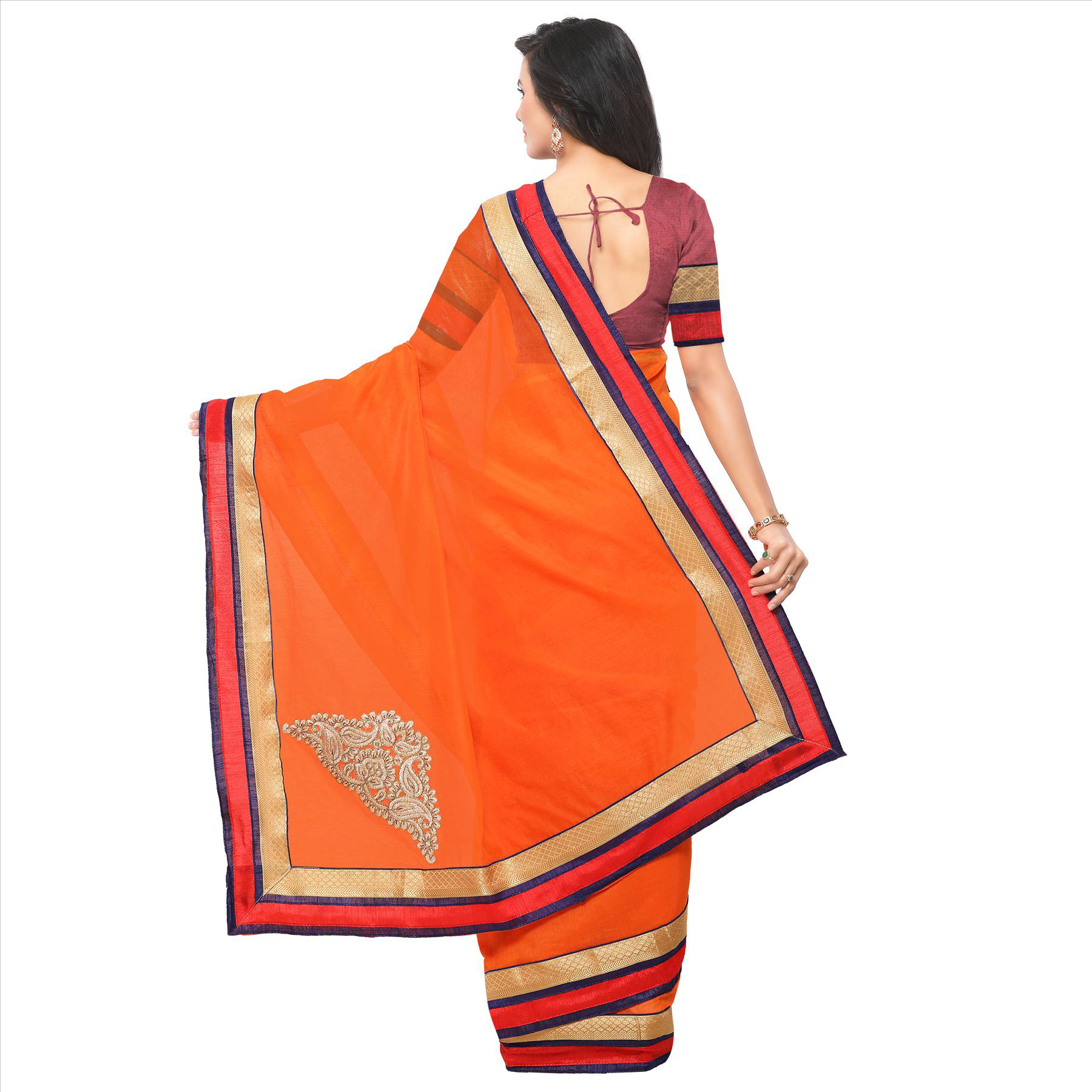 Classy Orange Partywear Chanderi Silk Saree