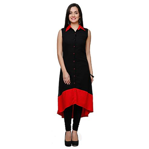 Black Casual Wear C Cut Kurti