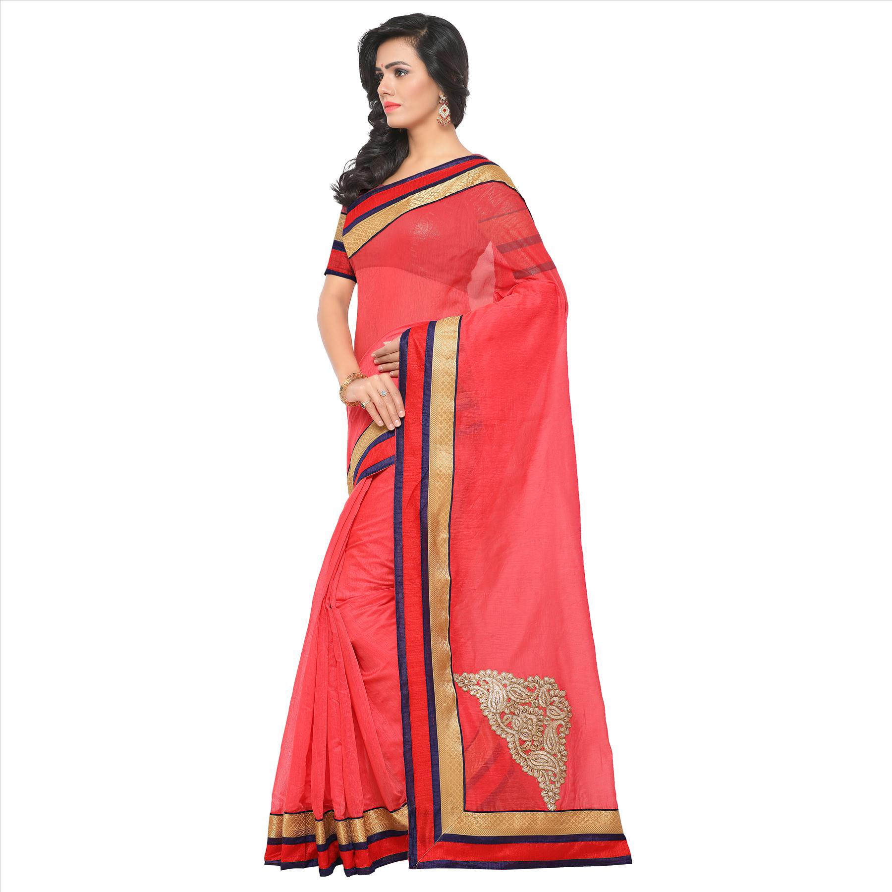 Cool Pink Partywear Chanderi Silk Saree