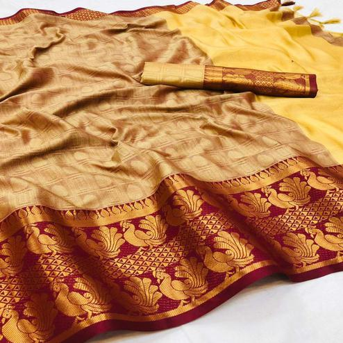 Classy Chiku Colored Festive Wear Woven Cotton Silk Saree