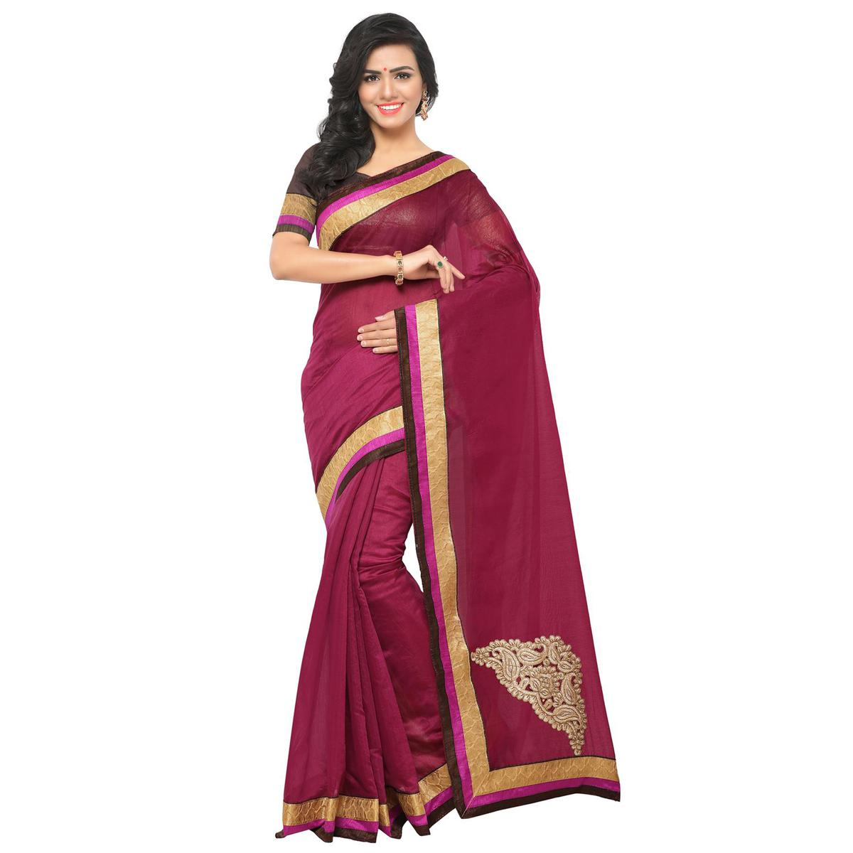 Pretty Wine Partywear Chanderi Silk Saree