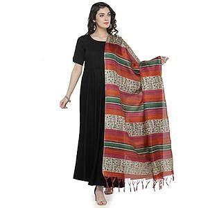 Orange-Maroon Multi Colored Striped Warli Print Khadi Silk Dupatta