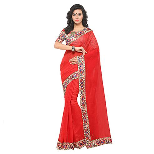 Attractive Red Colored Lace Bordered Chanderi Silk Saree