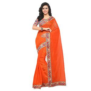 Classy Orange Colored Lace Bordered Chanderi Silk Saree