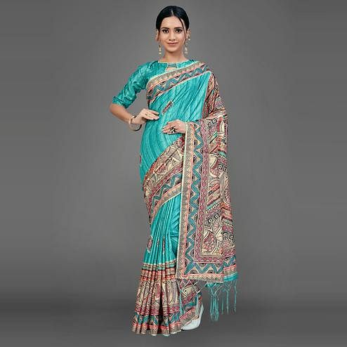 Sea Green Party Wear Silk Blend Animal Print Saree With Unstitched Blouse