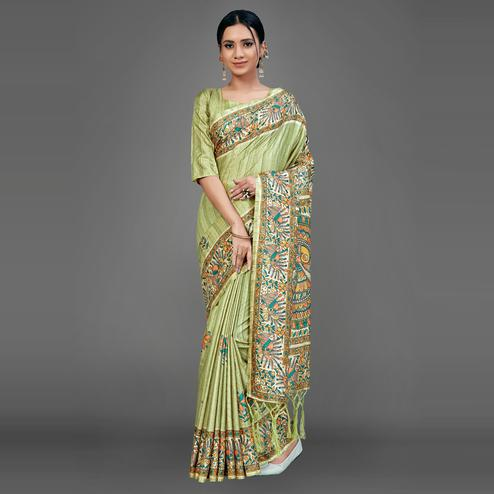 Olive Green Party Wear Silk Blend Floral-Animal Print Saree With Unstitched Blouse