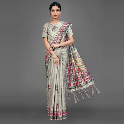 Grey Party Wear Silk Blend Floral Print Saree With Unstitched Blouse