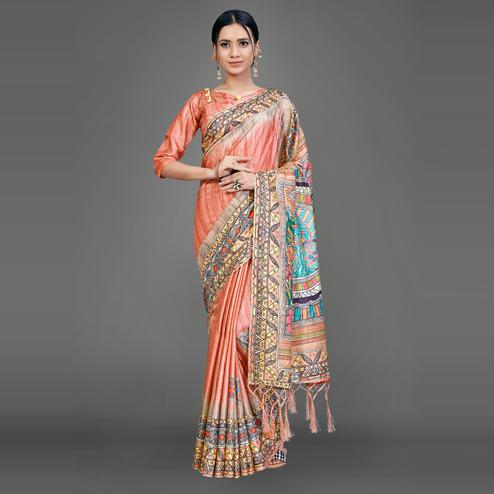 Orange Party Wear Silk Blend Geomatric Saree With Unstitched Blouse