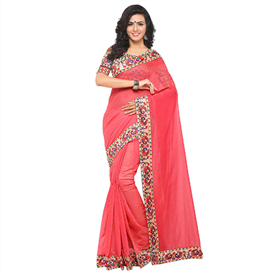 Graceful Pink Colored Lace Bordered Chanderi Silk Saree