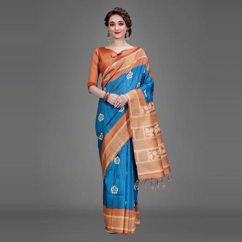 Blue Casual Art Silk Printed Saree With Unstitched Blouse
