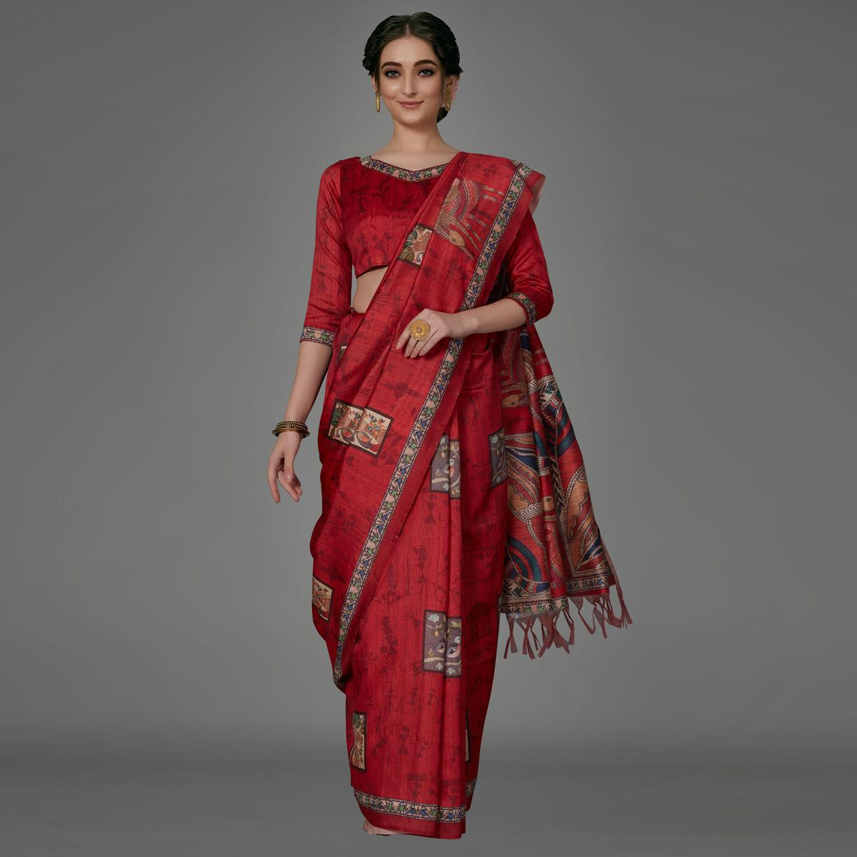 Red Casual Art Silk Printed Saree With Unstitched Blouse