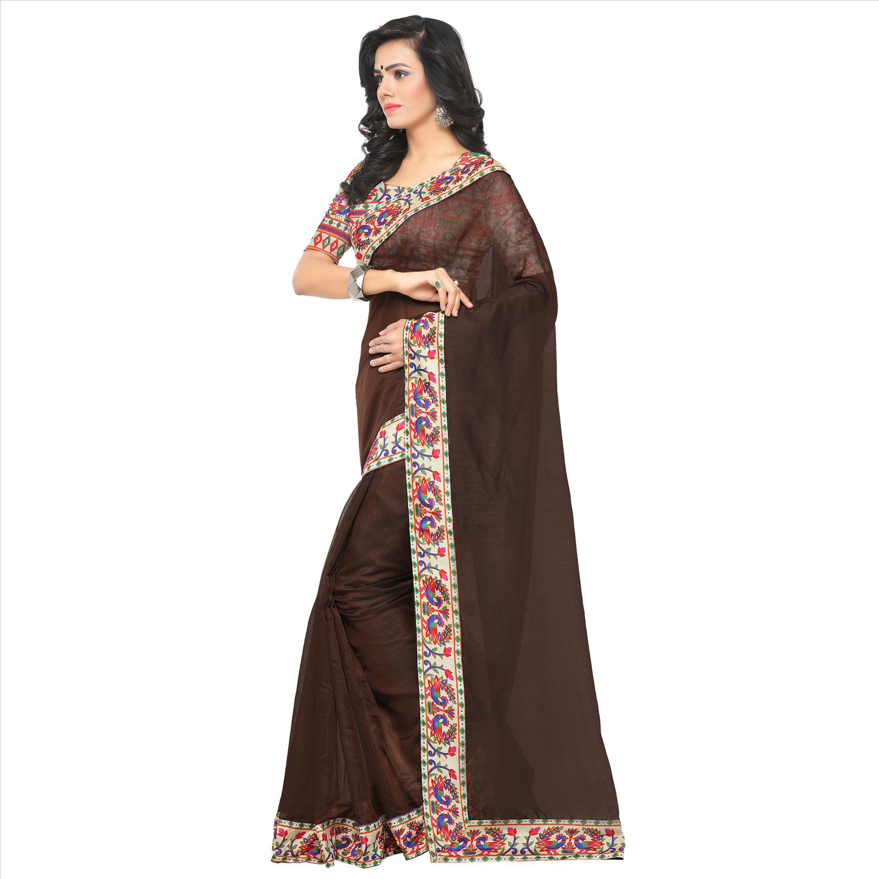 Lovely Brown Colored Lace Bordered Chanderi Silk Saree