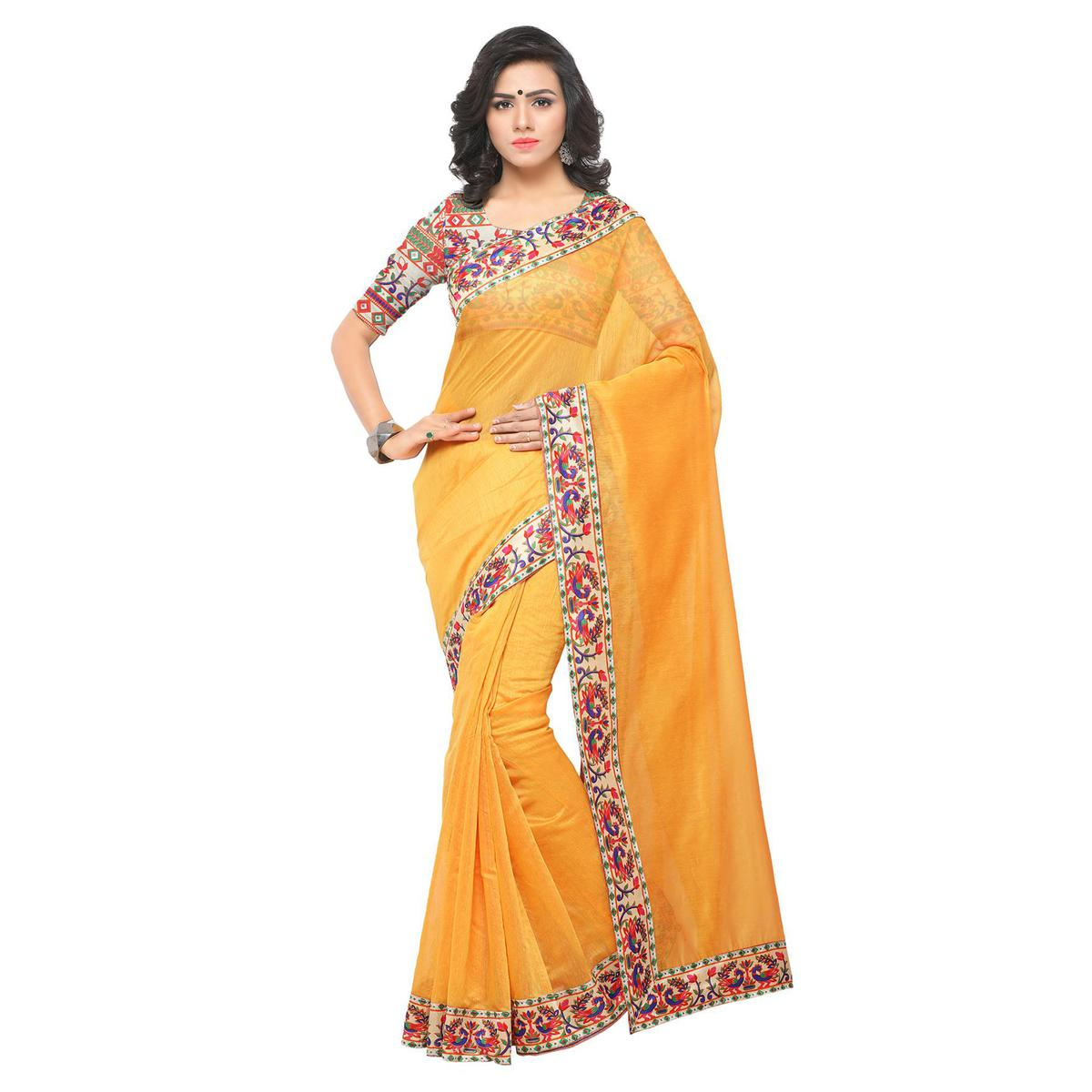 2044b90e33 Buy Pretty Yellow Colored Lace Bordered Chanderi Silk Saree for womens  online India, Best Prices, Reviews - Peachmode