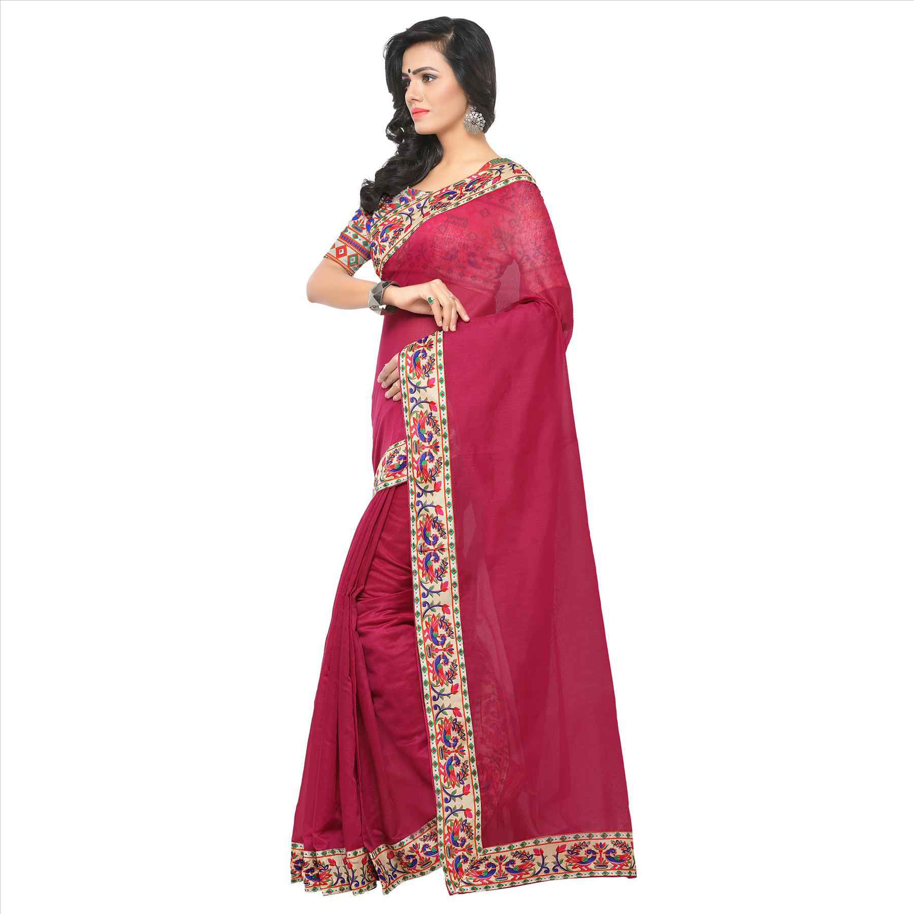 Charming Magenta Colored Lace Bordered Chanderi Silk Saree
