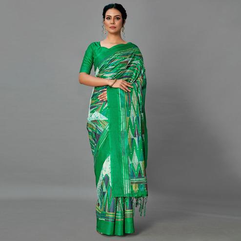 Green Casual Art Silk Printed Saree With Unstitched Blouse