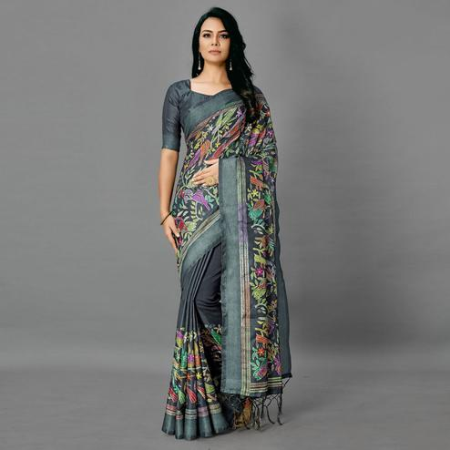 Teal Green Casual Art Silk Printed Saree With Unstitched Blouse