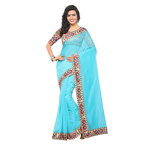 Stunning Sky Blue Colored Lace Bordered Chanderi Silk Saree