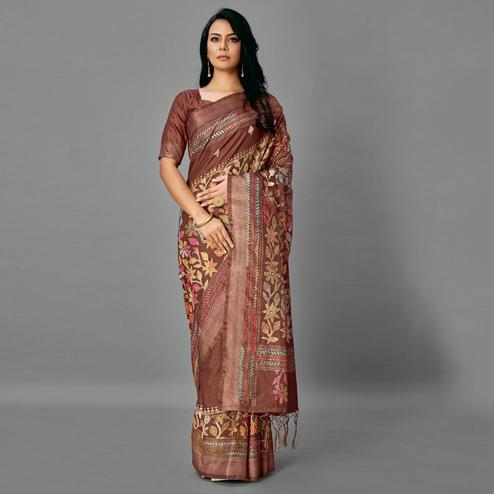 Brown Casual Art Silk Printed Saree With Unstitched Blouse