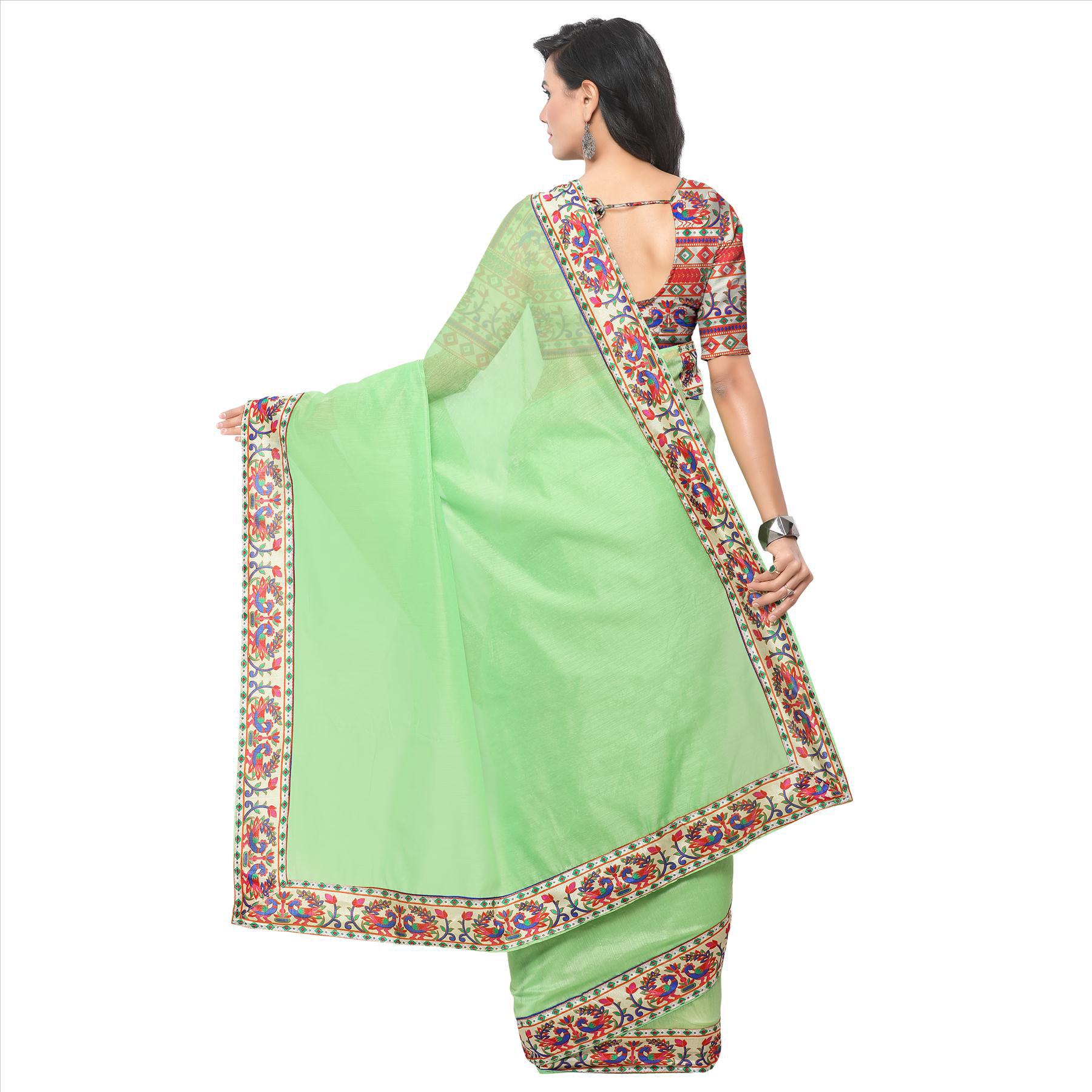 Amazing Green Colored Lace Bordered Chanderi Silk Saree