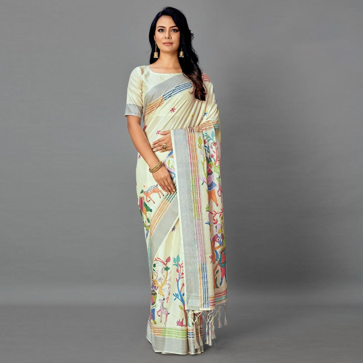 Beige Casual Art Silk Printed Saree With Unstitched Blouse