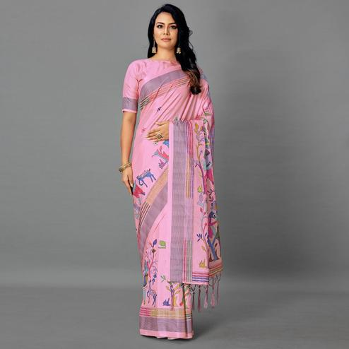 Pink Casual Art Silk Printed Saree With Unstitched Blouse