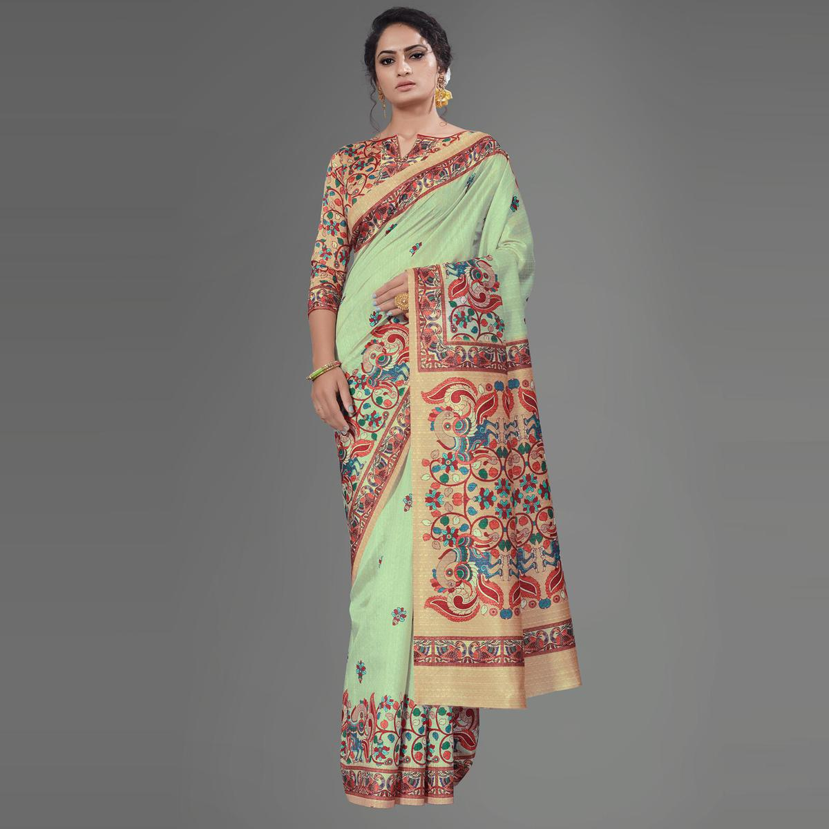 Sea Green Casual Art Silk Printed Saree With Unstitched Blouse