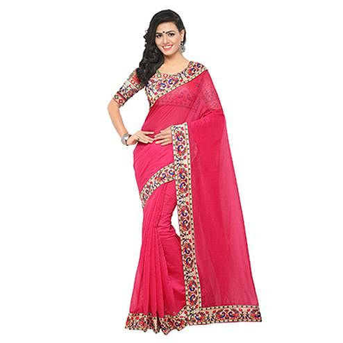 Ravishing Pink Colored Lace Bordered Chanderi Silk Saree