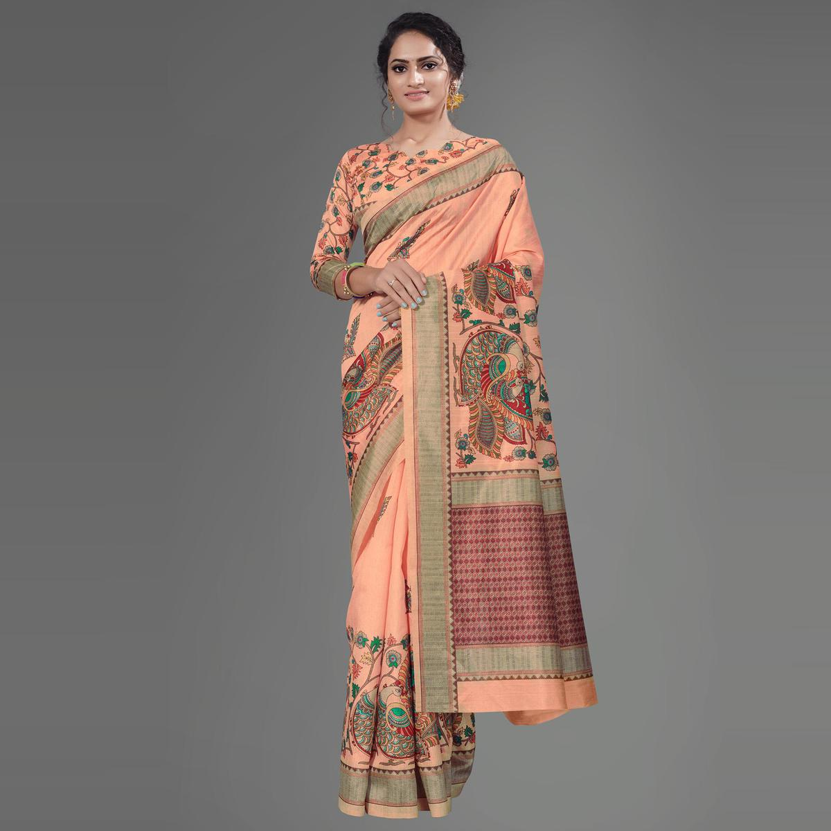 Peach Casual Art Silk Printed Saree With Unstitched Blouse