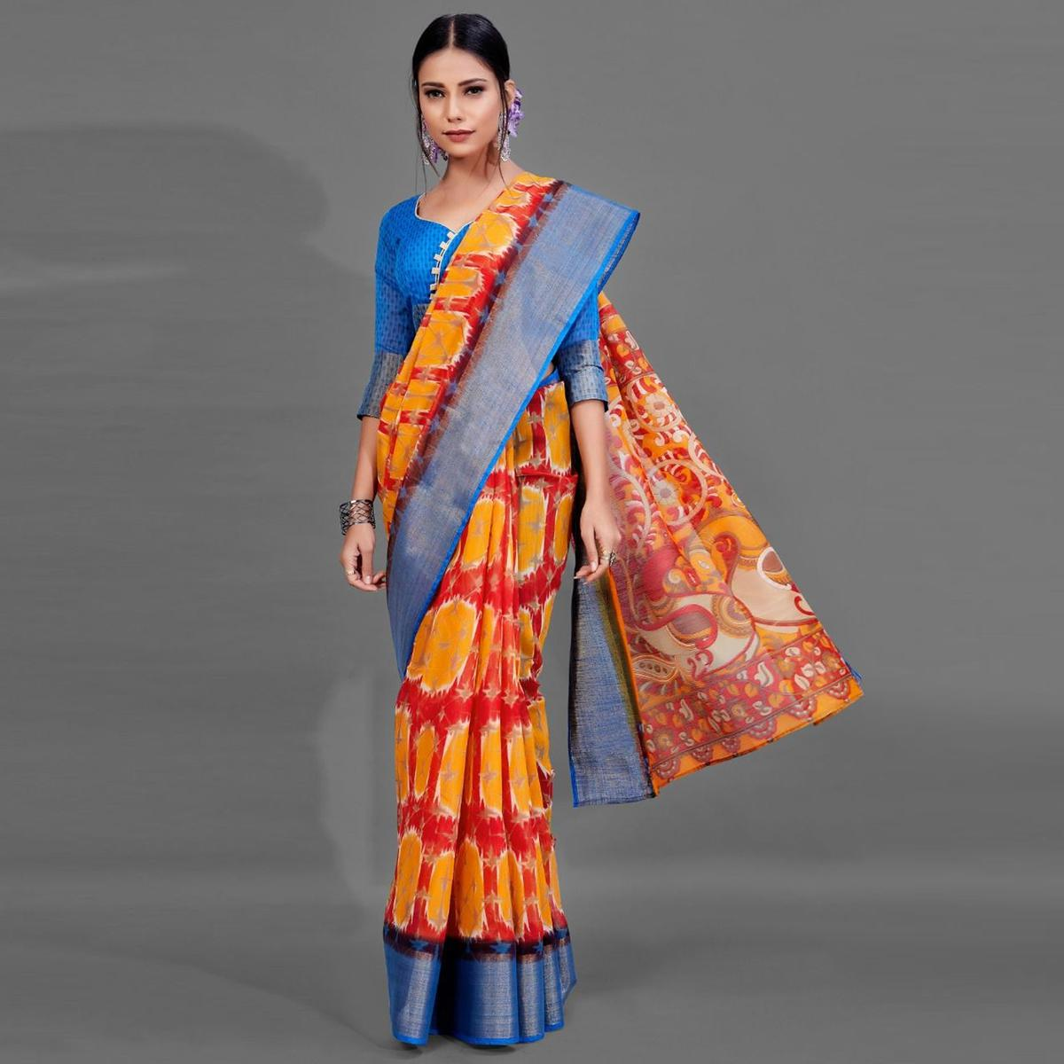 Red Casual Linen Printed Saree With Unstitched Blouse