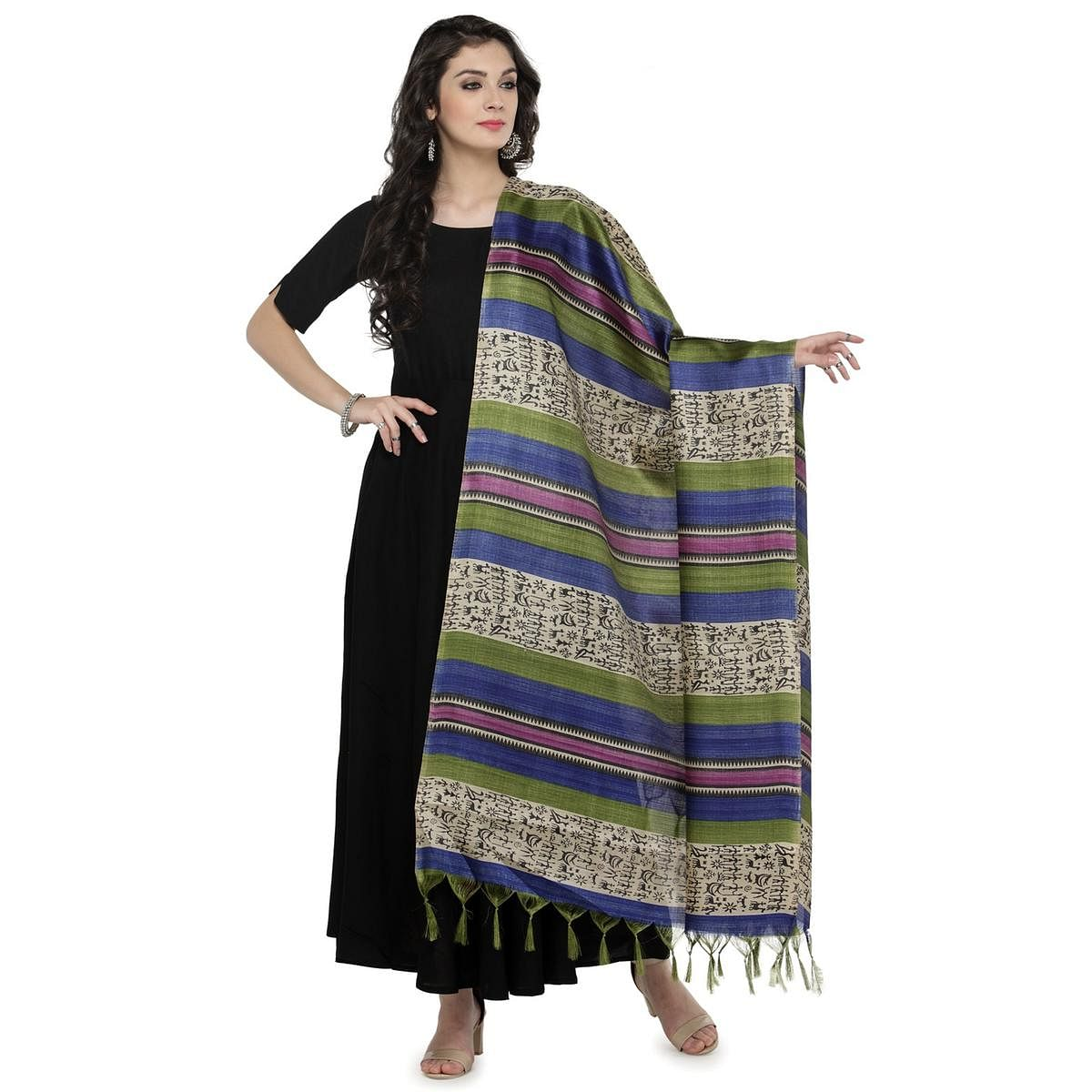Blue-Green Multi Colored Striped Warli Print Khadi Silk Dupatta