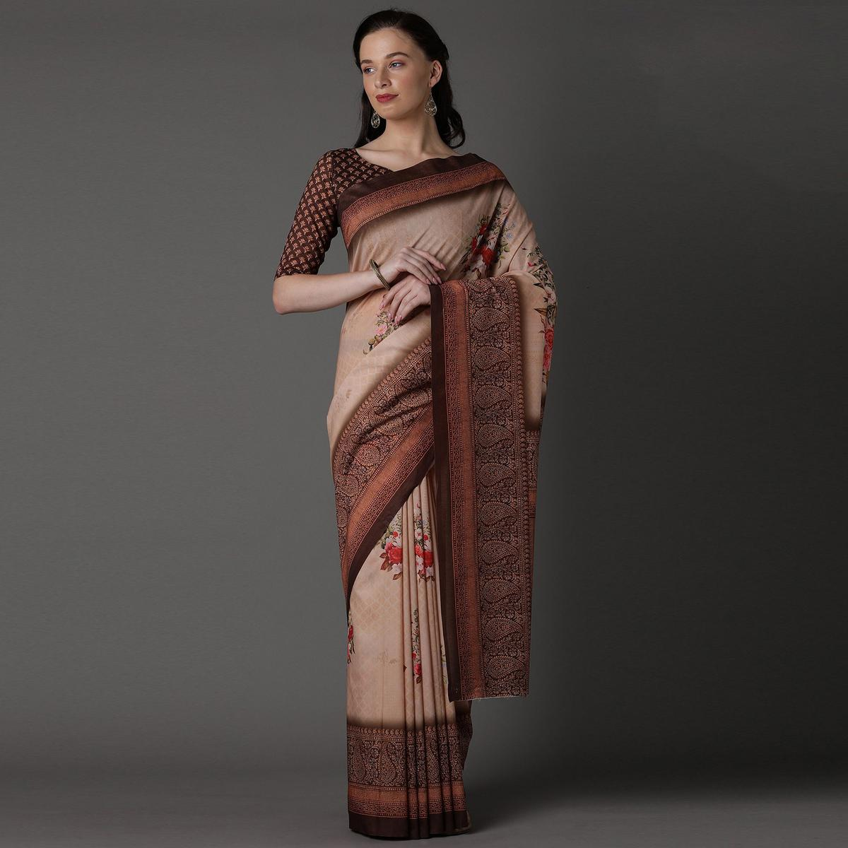 Beige Casual Cotton Silk Printed Saree With Unstitched Blouse