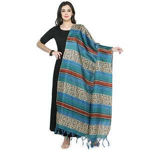 Blue Colored Striped Warli Print Khadi Silk Dupatta