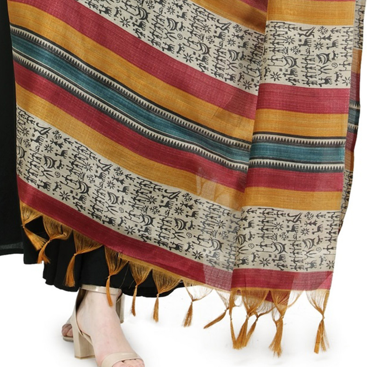 Yellow-Maroon Multi Colored Striped Warli Print Khadi Silk Dupatta