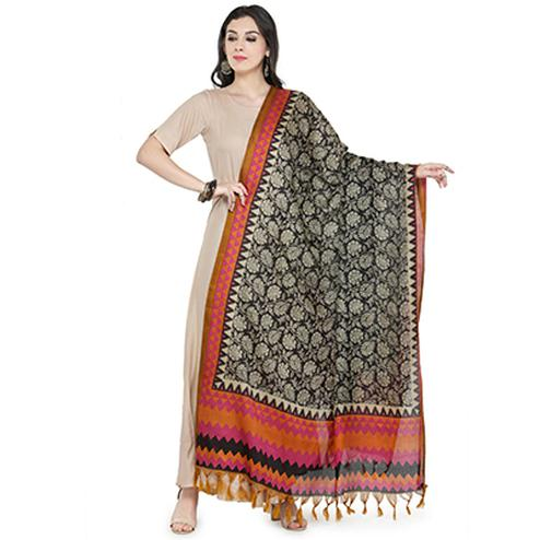Pink-Orange Colored Border With Floral Printed Khadi Silk Dupatta