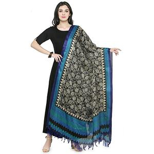 Blue Colored Border With Floral Printed Khadi Silk Dupatta