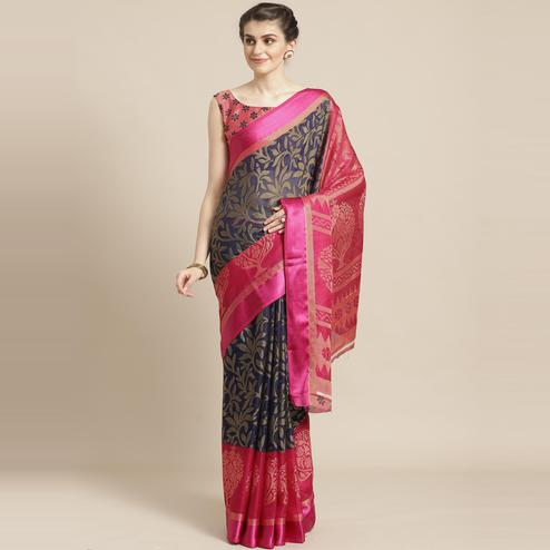 Navy Blue & Pink Casual Brasso Printed Saree With Unstitched Blouse