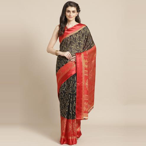 Black & Red Casual Brasso Printed Saree With Unstitched Blouse