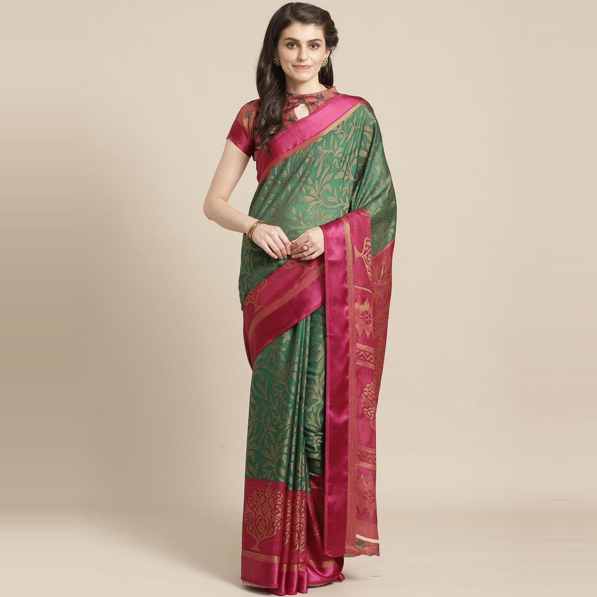 Green & Pink Casual Brasso Printed Saree With Unstitched Blouse