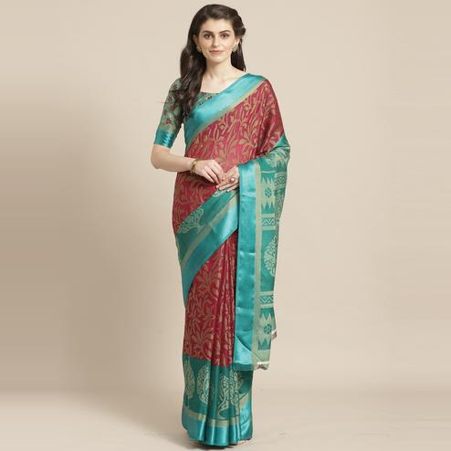 Magenta & Green Casual Brasso Printed Saree With Unstitched Blouse