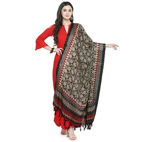 Gray-Red Colored Border With Floral Printed Khadi Silk Dupatta