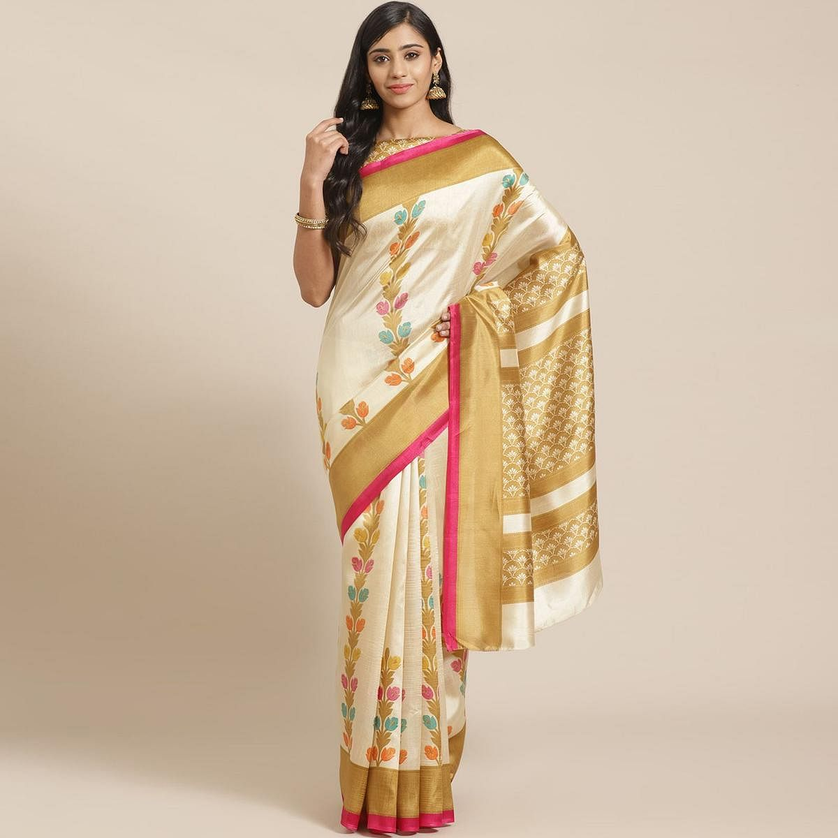 Beige Casual Silk Blend Printed Saree With Unstitched Blouse