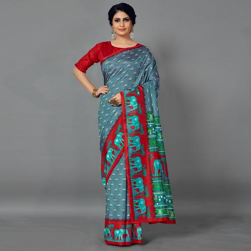 Grey Casual Art Silk Printed Saree With Unstitched Blouse