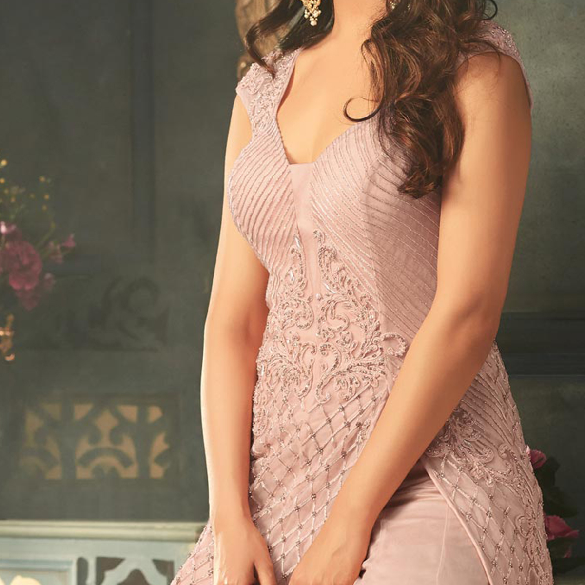 Stylish Pink Designer Embroidered Net Gown