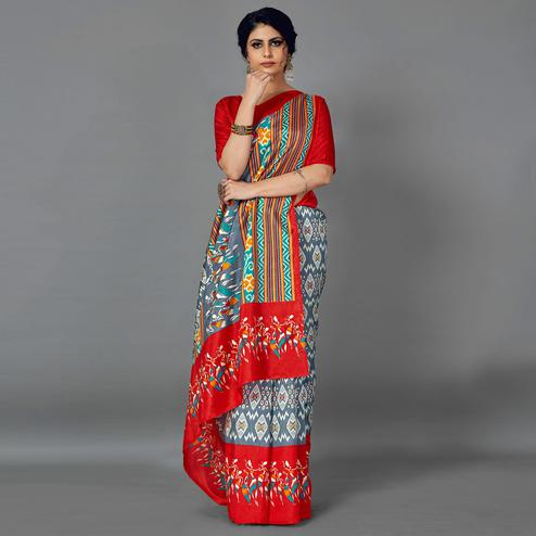 Multi Casual Art Silk Printed Saree With Unstitched Blouse
